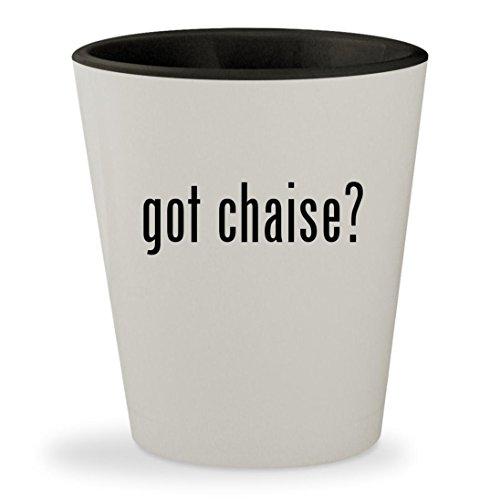 got chaise? - White Outer & Black Inner Ceramic 1.5oz Shot Glass (Sleeper Sunbrella Sofa)