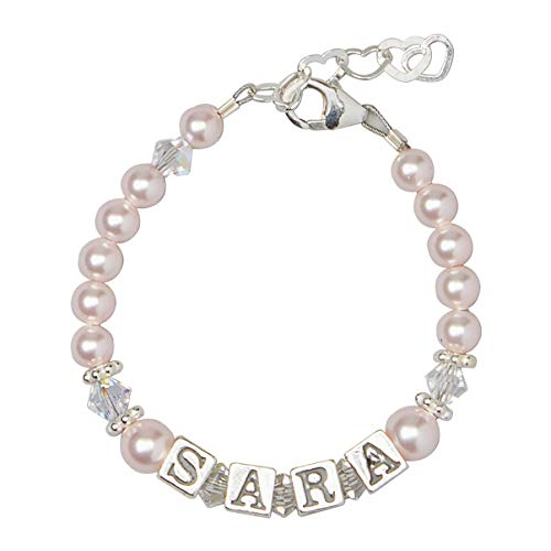 Personalized Name Luxury Sterling Silver with Pink Swarovski Crystal Baby Girl Keepsake Bracelet (BPNP)