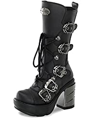 Summitfashions Womens Sizing Black Vegan Boots with Multiple Buckles and Chrome 3.5 Inch Heels