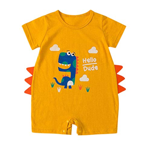 MOGOV Newborn Baby Boy Kids Girls Cartoon Dinosaur Summer Rompers Outfits Clothes Available in Three Colors Yellow