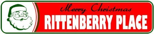 Novelty Metal Signs RITTENBERRY PLACE Personalized LASTNAME Merry Christmas Santa Novelty Sign - 4