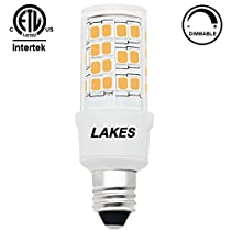 ETL Listed Dimmable E11 LED Bulb, 4.5W 120V T4 JD Mini-candelabra Edison Screw(mini-can) 450 Lumens 3000K Warm White 360 Degrees Beam Angle 45W Halogen Bulb Equivalent, CRI>85, Pack of 1