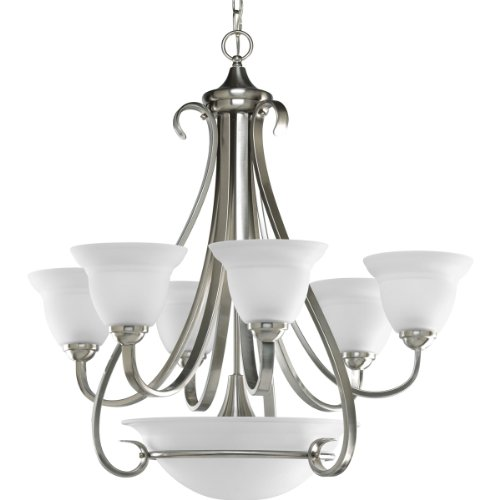 (Progress Lighting P4417-09 6-Light Two-Tier Torino Chandelier, Brushed Nickel)