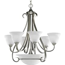 Progress Lighting P4417-09 6-Light Two-Tier Torino Chandelier, Brushed Nickel
