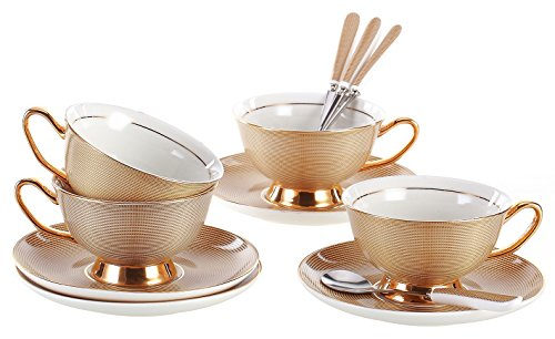 Jusalpha Porcelain Tea Cup and Saucer Coffee Cup Set with Saucer and Spoon FD-TCS09 (Set of 4)