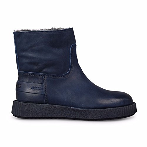 Stivaletto Blu Scuro In Pelle Nabuk