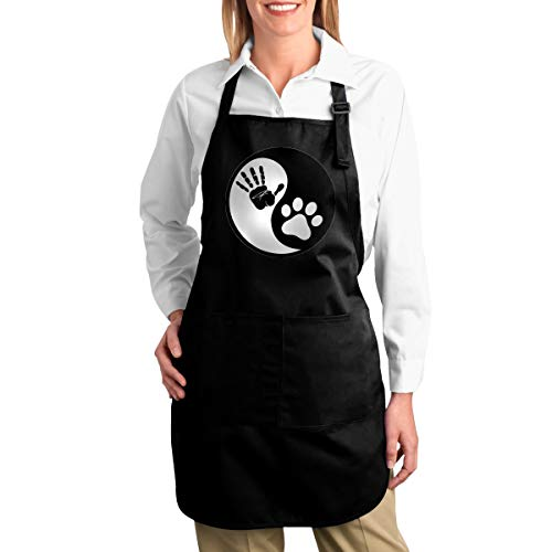 Hidden Ambition Dog Paw Fingerprint Cute Aprons for Women with Pockets, Mens Kitchen Aprons with Pocket for Waiter Cooking Baking Crafting Gardening BBQ -