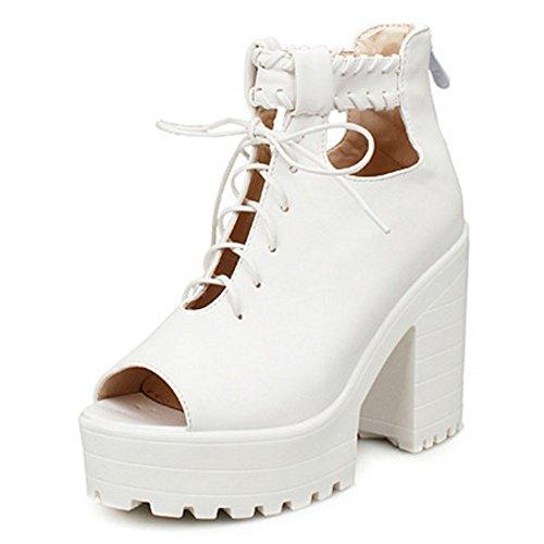 Moda Zapatos Coolcept Sandalias Toe Ancho Tacon Mujer Cordones Peep E2WIYDHe9b