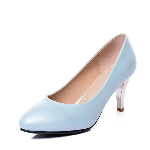 VogueZone009 Women's Round Closed Toe Kitten-Heels Blend Materials Solid Pull-On Pumps-Shoes Blue