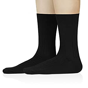 David Archy Men's 6 Pack Drop Needle Knit Dress Socks (10-13, Black/ Drop Needle)