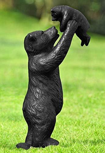 Ebros 16.25″ High Aluminum Whimsical Black Momma Bear Lifting Her Cub Statue Rustic Wildlife Forest Western Cabin Decor Bears Family Bear Hugs and Kisses Figurine