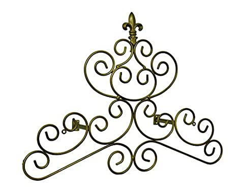 Metal Window Treatment Swag Holders Bronze Finish Fleur De Lis Scroll Drapery Crown/Wall Plaque 23 In. 24 X 18 X 0.13 Inches Bronze Model # - Swag Holder Finish