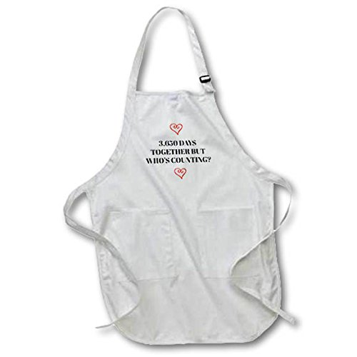 3dRose Xander funny quotes - 3650 days together, but whos counting, black letters and heart pictures - BLACK Full Length Apron with Pockets 22w x 30l (apr_265918_4)