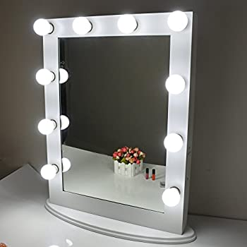 Aoleen White Hollywood Makeup Mirror with light Vanity Mirror with Dimmer  Free Bulbs Mother s Day Gift. Amazon com  Aoleen White Hollywood Makeup Mirror with light Vanity