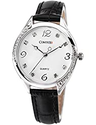 COMTEX Womens Watches Black Leather Strap White Dail with Crystalts Quartz Wristwatch for Ladies