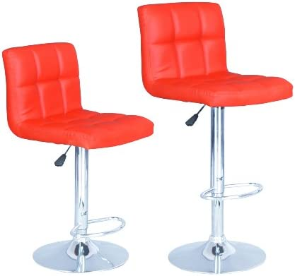 BestOffice Red Modern Adjustable Synthetic Leather Swivel Bar Stools Chairs B06-sets of 2
