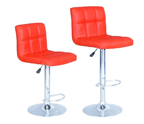 Red Modern Adjustable Synthetic Leather Swivel Bar Stools Chairs B06-sets of 2