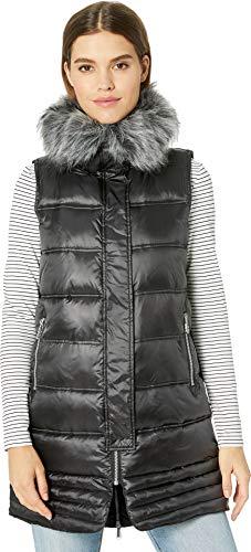 (Sam Edelman Women's Faux Fur Trim Vest W/Trapunto Stitch Bottom, Black, L)