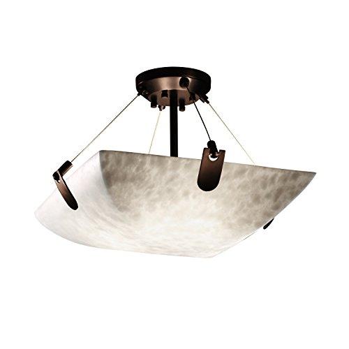Justice Design Group Clouds 3-Light Semi-Flush - Dark Bronze Finish with Clouds Resin Shade - Cloud Bronze Semi Flush