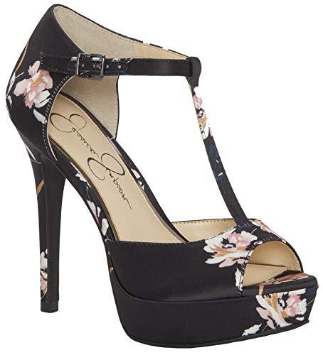 Jessica Simpson Women's Bansi Platform Pump, Black Floral Satin, 9.5 M US