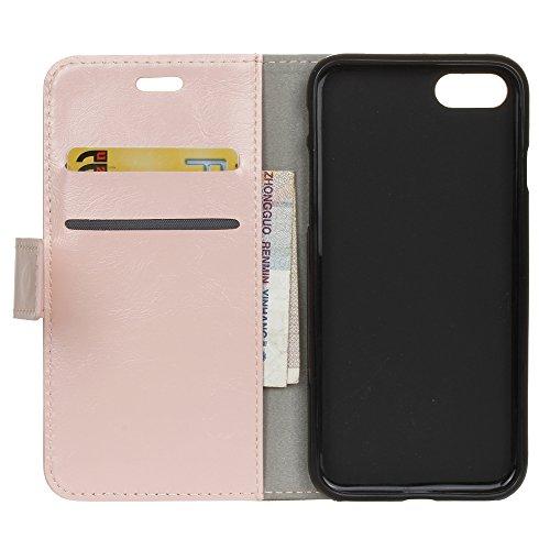 Lusee® PU Caso de cuero sintético Funda para XiaoMI MI 6 Plus 5.7 Pulgada Cubierta con funda de silicona botón caballo Loco patrón negro caballo Loco patrón Rosa