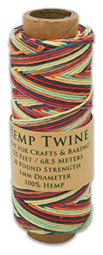 225 Foot Spool of 1mm 100% Hemp Twine Bead Cord In Your Choice of Color (Rainbow)