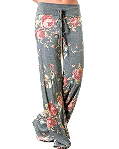 Floral Pants - AceIce Women's Comfy Stretch Floral Print Lounge Pants Casual Drawstring Palazzo Pants Wide Leg Pajama Pants (Light Grey, Tag S= US 2-4)