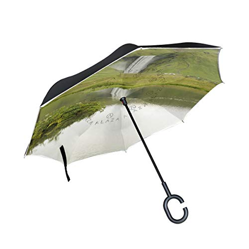 FELOU Cars Reverse Windproof UV Double Layer C-Shaped Handle Golf Straight Umbrella Lakeside Waterfall (Lakeside Patio)