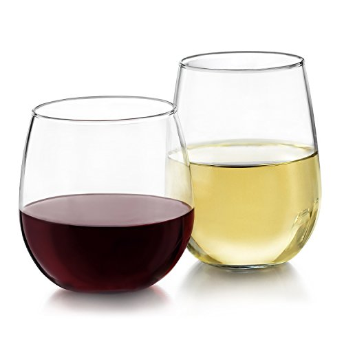 Libbey Stemless 12-Piece Wine Glass Party Set for Red and White -