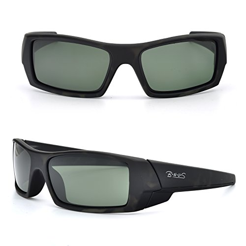 BNUS Ranger Rectangular Sports Polarized Sunglasses for men Corning natural glass lenses (Frame: Dark Camo / Lens: Green G15, - S Fashion Sunglasses Men