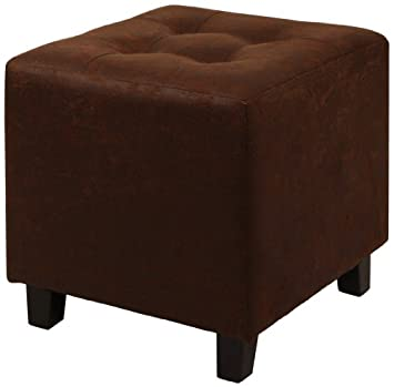 Lux Home Antique Brown Faux Leather Ottoman with Button Tufted Top