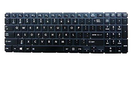 New US Black Backlit Laptop Keyboard No-Frame For Toshiba Satellite L55W-C5150 L55W-C5152 L55W-C5153 L55W-C5201S L55W-C5202S L55W-C5220 L55W-C5236 L55W-C5236X L55W-C5252 Backlight Light Notebook