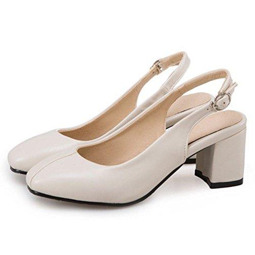 RAZAMAZA Mujer Moda Zapatos de Tacon Ancho Correa de Tobillo Talon Abierto(43 EU, Beige) Beige
