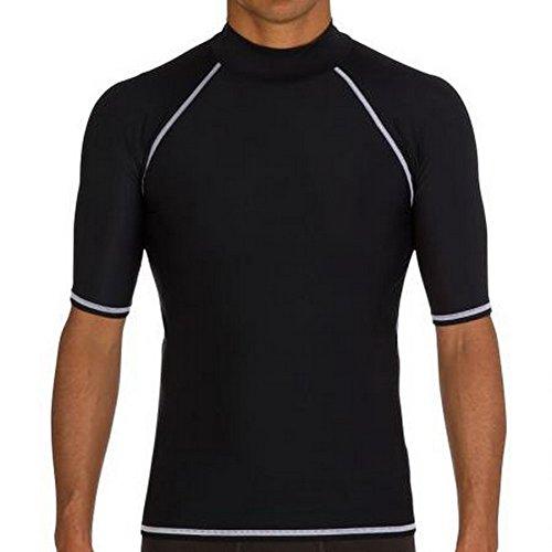 FOREVER YUNG A Unisex Wetsuit Sun Protection Surf Swim Rash Guard Shirt Short-Sleeve Rashguard Black M