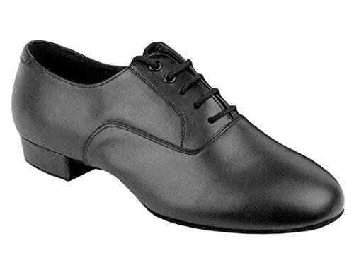 Go Go Dance Shoes Men's Black Leather Ballroom Shoes