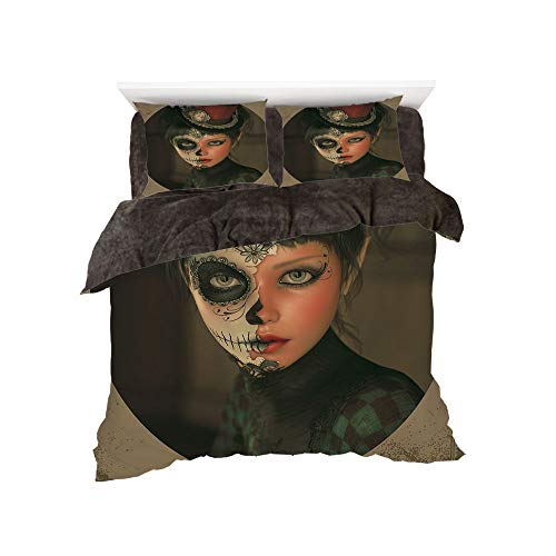 Set 4-Piece Suit Warm Bedding Sets Quilt Cover for bed width 5ft Pattern by,Sugar Skull Decor,Antique Portrait Girl with Calavera Inspired Makeup and Topper Realistic Decorative,Mu ()