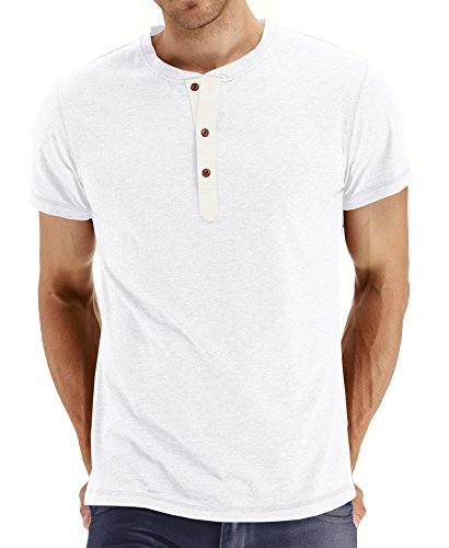 NITAGUT Mens Fashion Casual Front Placket Basic Short Sleeve Henley T-Shirts (M, 02 White)