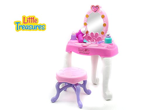 Lovely Dresser set – a beautifying dresser set of 19+ pcs, for preschooler girls, with lights and music, a mirror and table loaded with hair dryer, tiara, comb, make-up brush, lotion and (Lotion Comb)