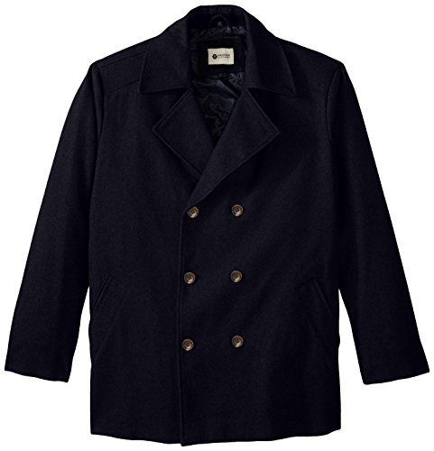 HAGGAR Men's Big-Tall Bedford Double-Breasted Peacoat, Na...