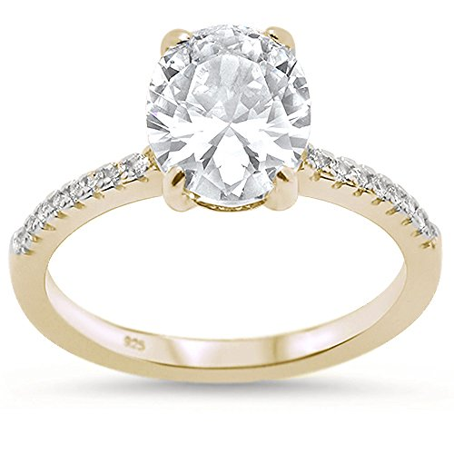 Oxford Diamond Co Sterling Silver Yellow Gold Plated Oval Cut Cubic Zirconia Engagement Ring Sizes 6