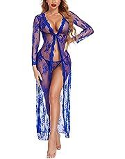 Avidlove Lingerie Robe for Women Lace Kimono Sexy Long Babydoll Sheer Bridal Nightwear Mesh Chemise