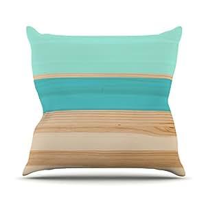 """KESS inhouse kih132eop0318""""La muestra de primavera, 45,7x 45,7–Azul verde azulado madera"""" Cojín Manta de exterior, multicolor"""