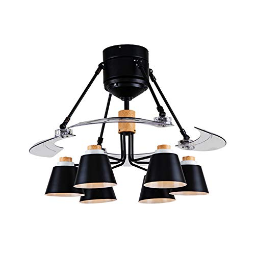 - Ceiling Fan with Lamp, Pendant Light 6-Light with Invisible Blade, Ceiling Fan Light Chandelier with Remote Control for Living Room Dining Room, Black