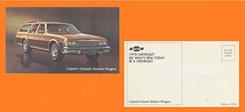 1978 CHEVROLET CAPRICE CLASSIC STATION WAGON FACTORY ORIGINAL COLOR POSTCARD - USA - GREAT VINTAGE POST CARD - 1978 Chevrolet Wagons