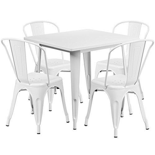 MFO 31.5'' Square White Metal Indoor-Outdoor Table Set with 4 Stack Chairs