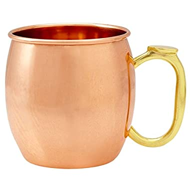 Drinkware Essentials Moscow Mule Copper Mug. Hand Polished Unlined 16oz 100% Solid Copper Cups with Thumb Rest.