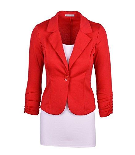 Wowbridal mujeres botón de un solo trabajo de color sólido chaqueta de punto Rojo