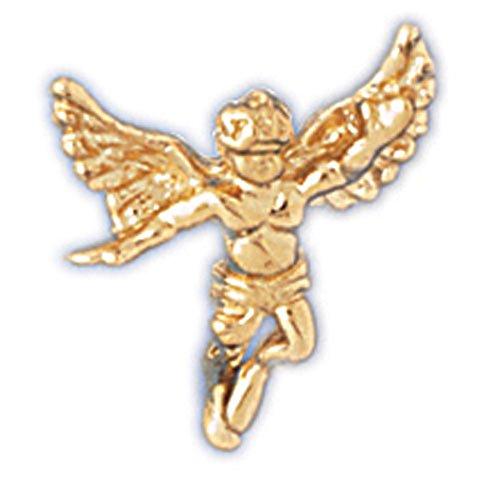 Jewels Obsession Angel 3D | 14K Yellow Gold Angel 3D Lapel Pin Pendant - 16 mm