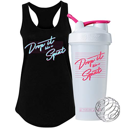 GOMOYO Drop It Like A Squat on BlenderBottle Brand Classic Shaker Cup, 28oz Capacity, Includes BlenderBall Whisk, Includes Tank Top (Drop It Gift Set - Small)