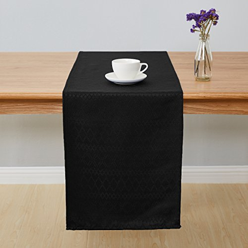 Cloth Table Runner - Deconovo Jacquard Damask Table Runner Wrinkle and Water Resistant Spill-Proof Decorative Dining and Wedding Runners with Diamond Patterns 14 x 108 inch Black